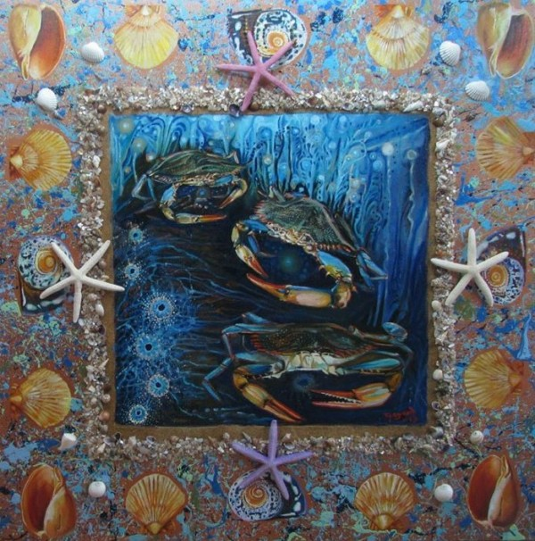 Three Crabs with Splattered Border by Tony Mayard