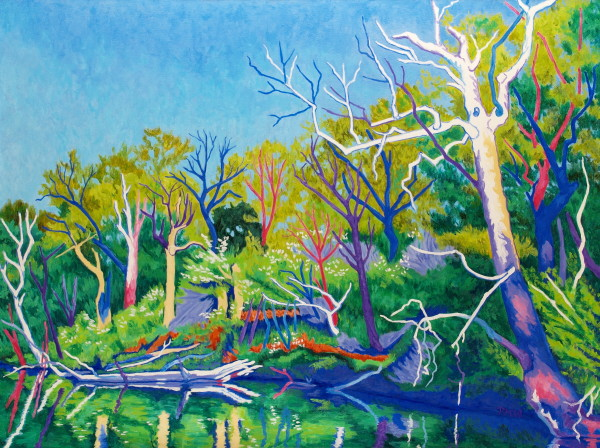 April Riverbank by Peggy Walters