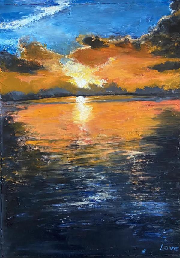 Orange Cypress Sunset by Pat Love