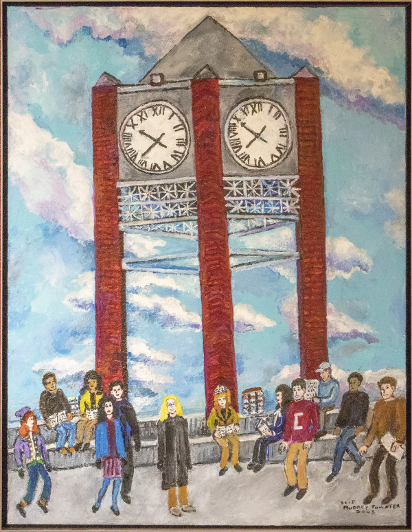 Subject: Students going to & from class w/ Bell Tower as a backdrop on 11/18-20 by Audrey Towater