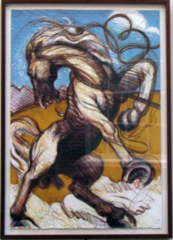 Bronco (diptych, left panel) by Luis Jimenez