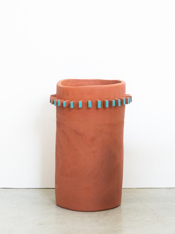 Teal Fin Terra Cotta Cylinder by Ben Medansky