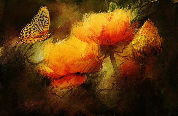 """9th Place - Margo Reasner - """"Tulips with Butterfly"""" by Margo Reasner"""