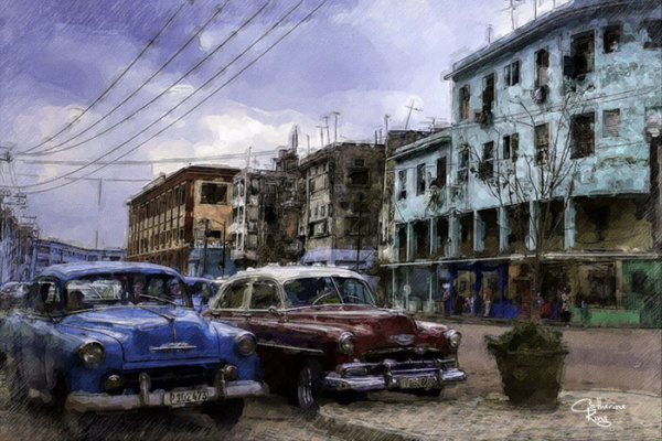 """7th  Place – Catherine King - """"Parked in Havana"""" –  www.ckingfineart.com by Catherine King"""