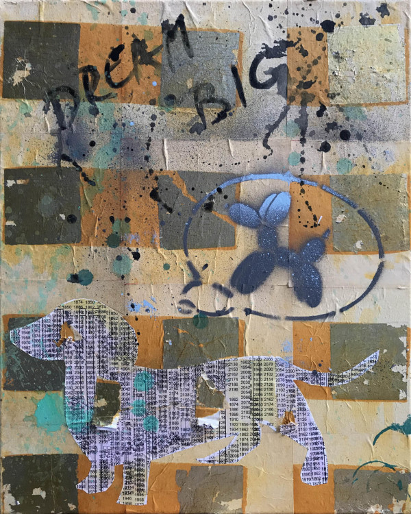 Bobby Dreams of Jeff Koons Dog Gold by Tina Psoinos