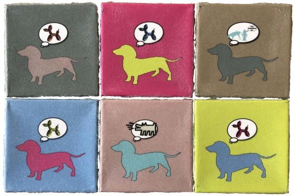 Dog  Dreams 8x8 by Tina Psoinos