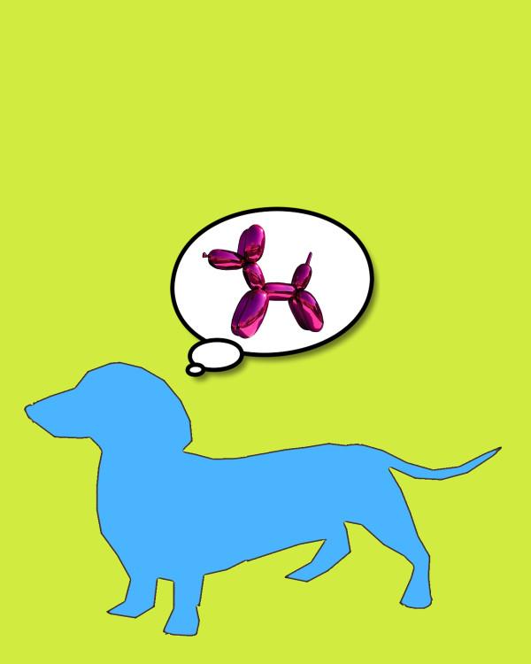Bobby Dreams of Jeff Koons Dog Pink by Tina Psoinos