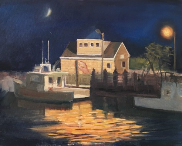 Lobster boat in the Moonlight, Guilford Harbor, Guilford, CT by Linda S. Marino