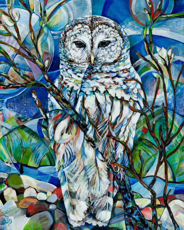 No sunrise finds us where the sunset left us (Barred owl) by Anna Iris Graham
