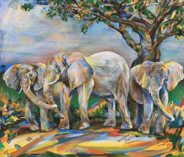 Under the Tree (Elephants) by Anna Iris Graham
