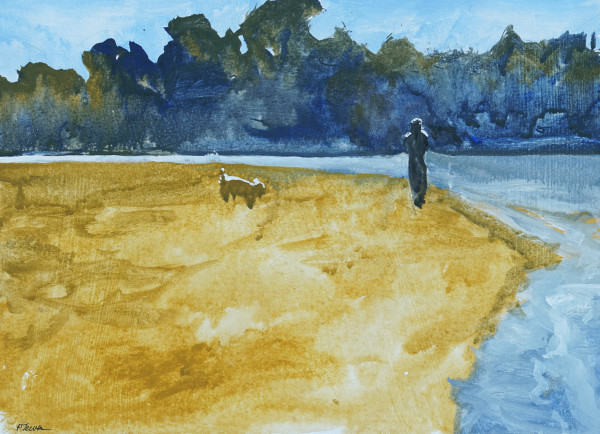 Early Morning Dog Walk Goose Rocks by PATRICIA TEWES
