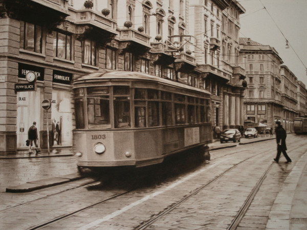 Trolley in Milan by Carol L. Acedo