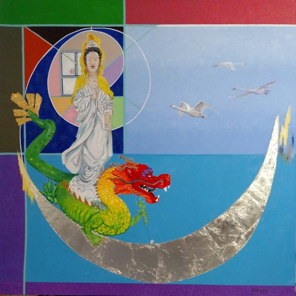 Yin the Deity of Compassion and Mercy, 36 x 36 inches by Debi Slowey-Raguso