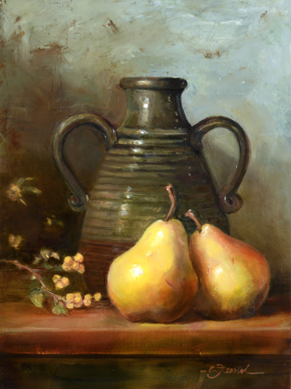 Pears with a Green Jug by Cynthia Feustel