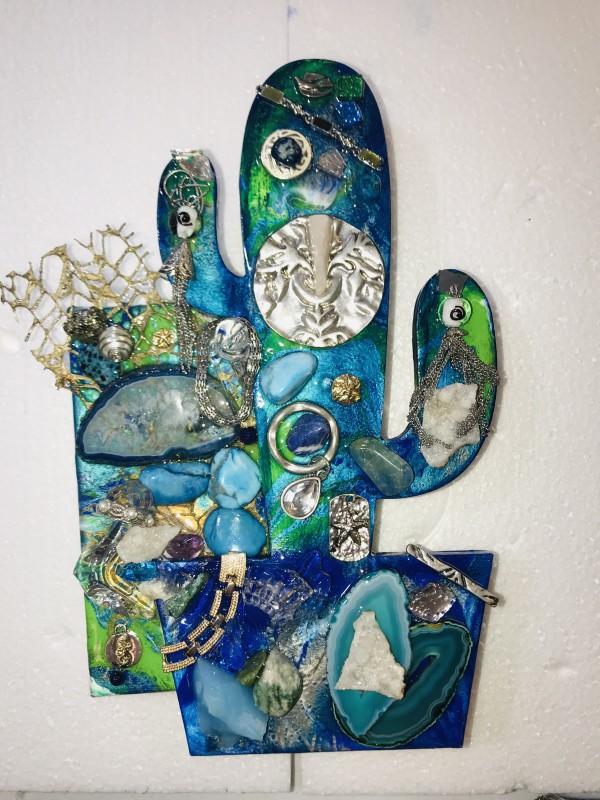 Azul Verde Swirls Cactus by Rebecca Viola Richards