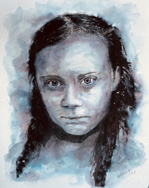 """""""How Dare You!"""" Greta Thunberg, Environmental Activist on Climate Change SOLD by Wanda Fraser"""