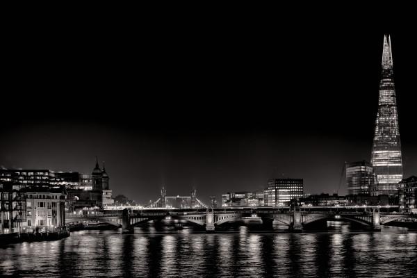 Night Lights - BW #1 of 15 by Kent Burkhardsmeier
