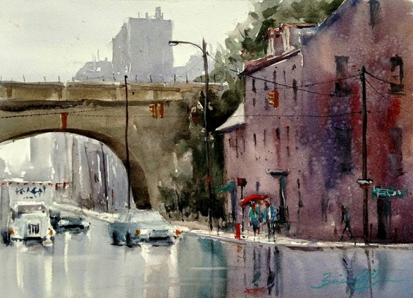 Rain on Front Street by Brienne M Brown