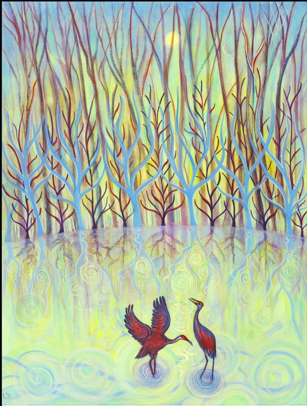 Cranes: Love Song (Unframed print) by Nancy Giffey