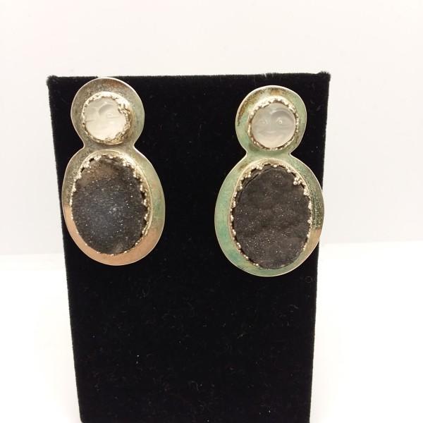 Druzy Moon Face Earrings by Judi Werner