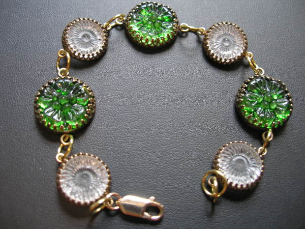 Green Glass Buttons Bracelet by Judi Werner