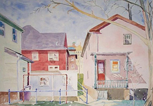 Madison Back Alley (Framed original) by Chuck Bauer