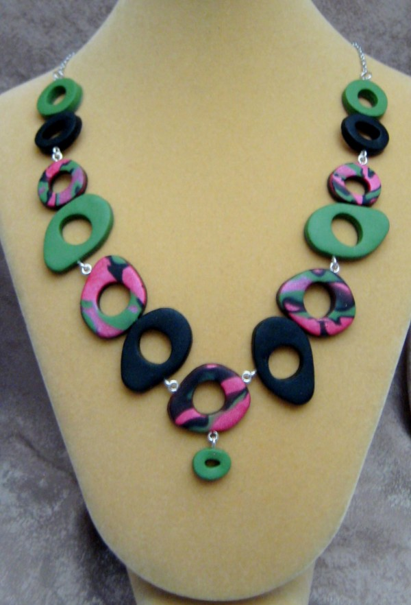 Coral/Black/Green Circles Necklace by Charmaine Harbort
