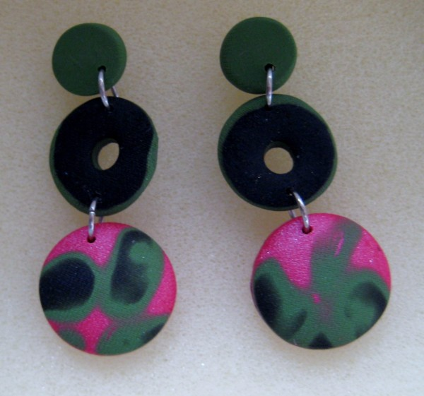 Coral/Black/Green Circles Earrings by Charmaine Harbort