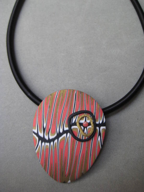 Coral/White Teardrop Necklace by Charmaine Harbort