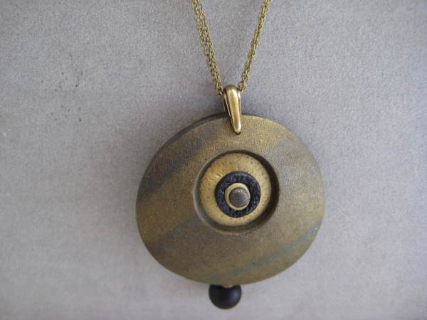 Antique Gold Round Necklace by Charmaine Harbort