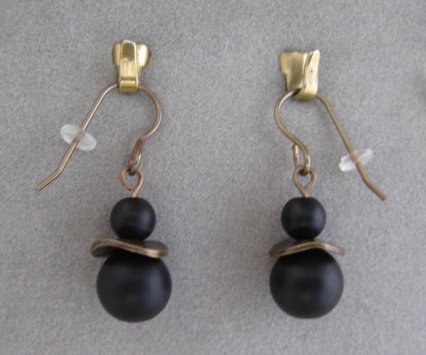 Antique Gold/Onyx Earrings by Charmaine Harbort