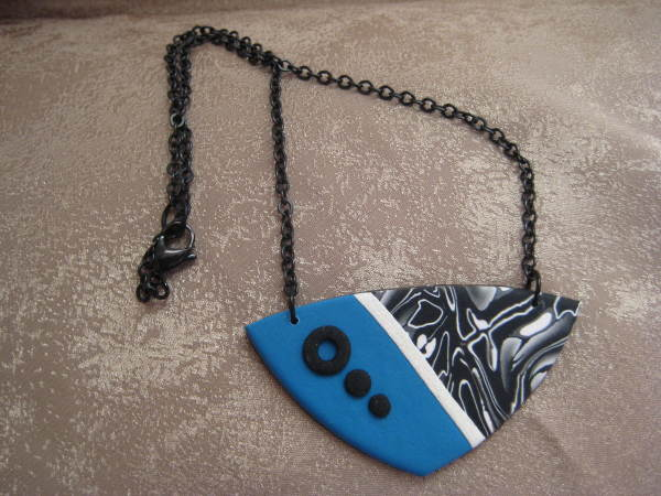 Blue/White/Black Necklace by Charmaine Harbort