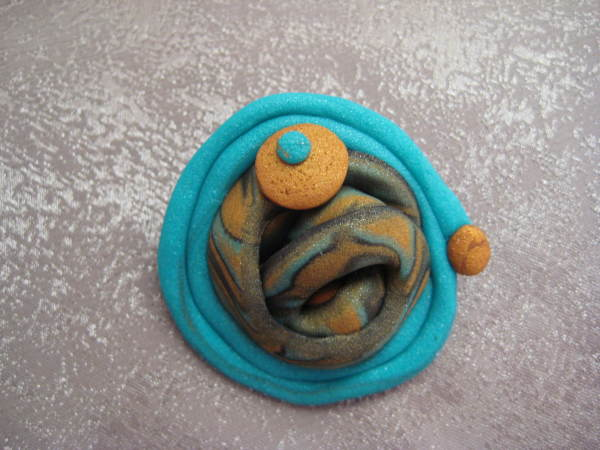Teal/Gold Swirl Pin by Charmaine Harbort