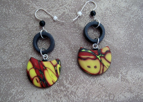 Yellow/Red/Neon Earrings by Charmaine Harbort