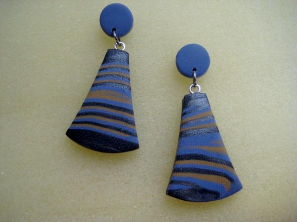 Slate Blue/Gray Stripe Earrings by Charmaine Harbort