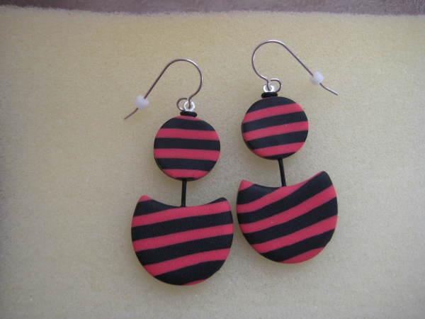 Black/Coral Earrings by Charmaine Harbort