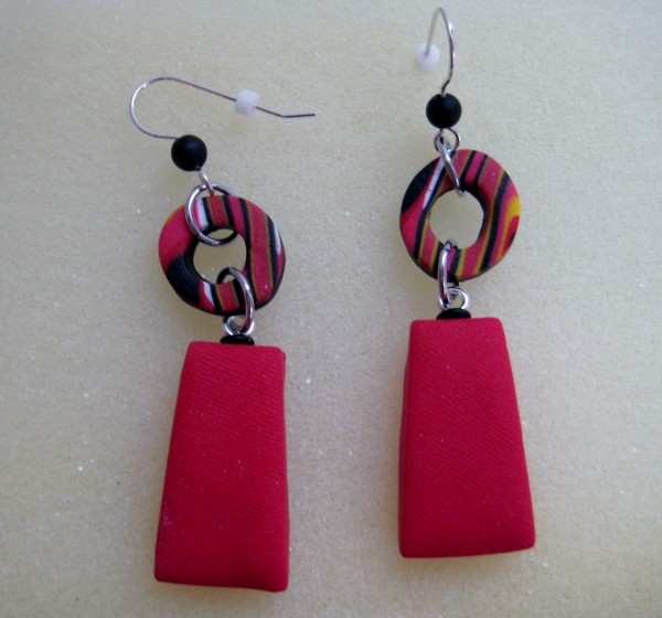 Red Rectangle Earrings by Charmaine Harbort