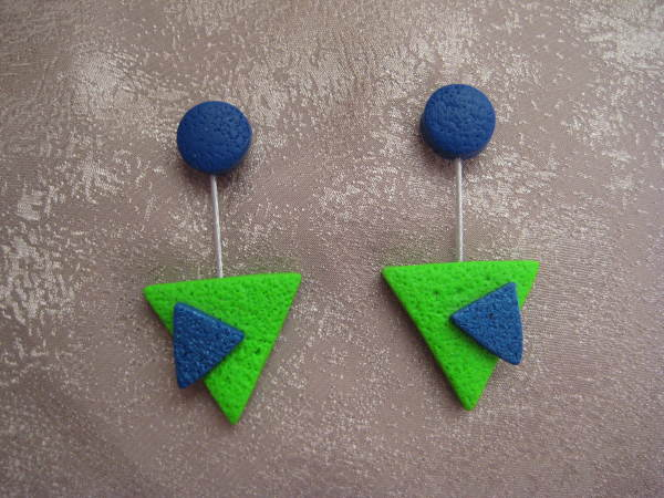 Green/Blue Triangle Earrings by Charmaine Harbort