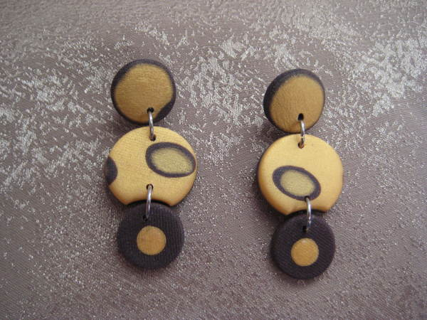 Gold/Brown Earrings by Charmaine Harbort