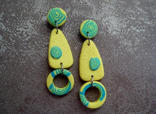 Yellow/Aqua Earrings by Charmaine Harbort