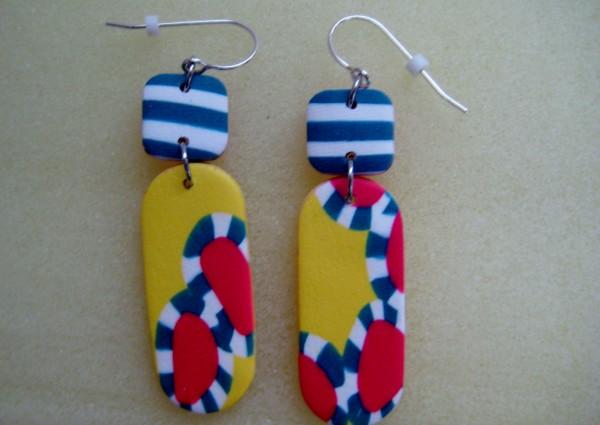 Yellow/Multi Stripe Earrings by Charmaine Harbort