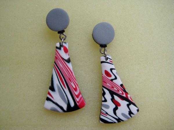 Red/White/Black Earrings by Charmaine Harbort