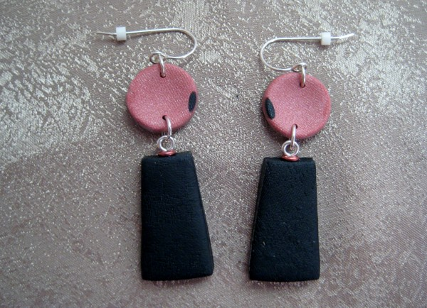 Black/Blush Earrings by Charmaine Harbort