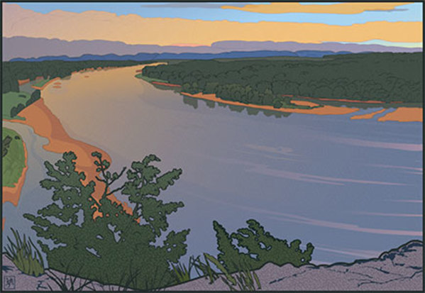 Ferry Bluff Up River (unframed print)