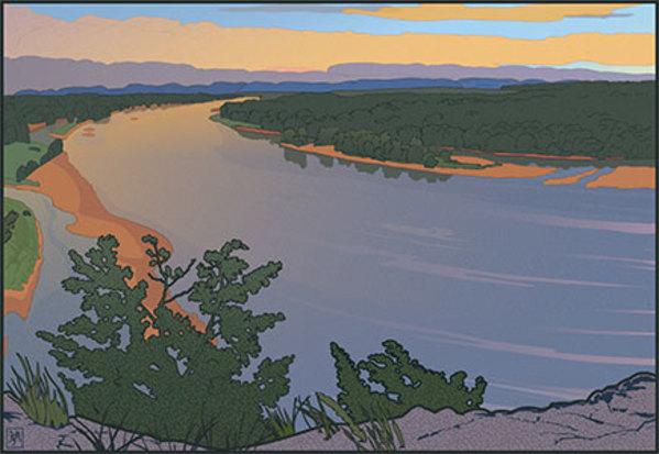 Ferry Bluff Up River (Unframed print) (2) by John Miller