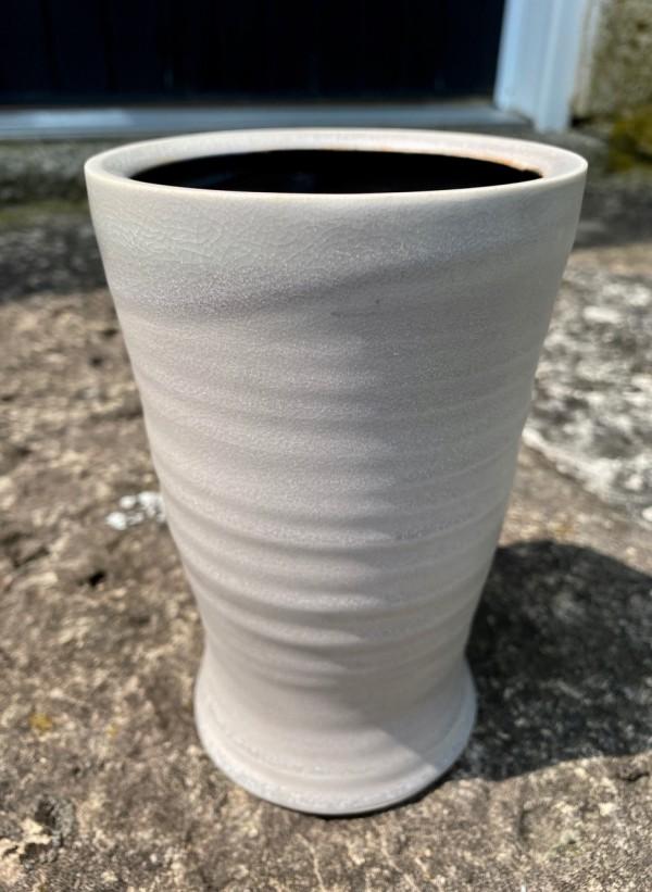 Grey Vase with Ridges by Carol Naughton