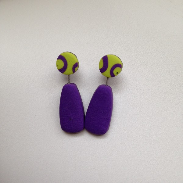 Post Earrings (Purple/Lime Green) by Charmaine Harbort