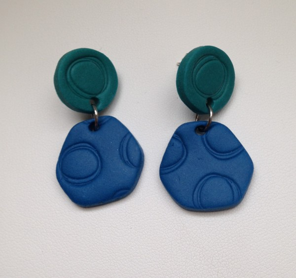 Patterned Post Earrings (Blue/Aqua) by Charmaine Harbort