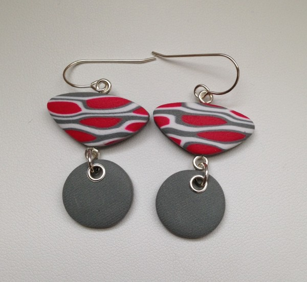 Two Piece Wire Earrings (Gray/Red/White) by Charmaine Harbort