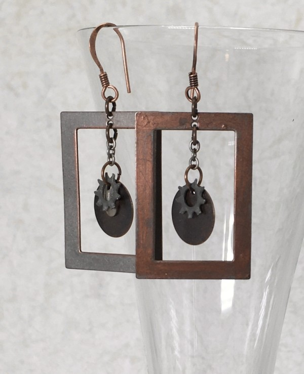 Mixed Metal Square Frame Earrings by Luann Roberts Smith